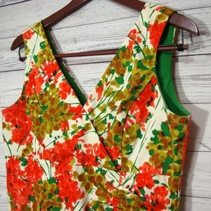 Donna Ricco Orange Green Floral Print Dress
